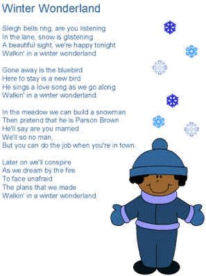 Winter Wonderland Lyrics - teach a Christmas song.