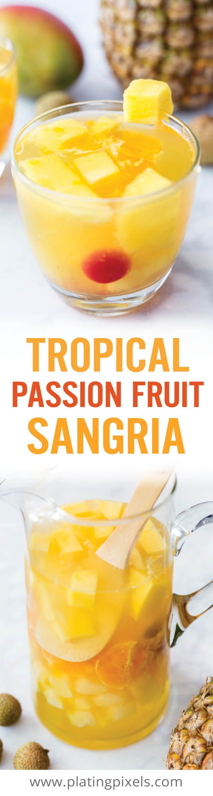 Msg 4 21+ Summer themed Tropical Passion Fruit Sangria. An easy white sangria made with white wine, rum, pineapple, orange, mango, lychee and passion fruit syrup. #MyToraniSummer @walmart @ToraniFlavor [ad] - www.platingpixels.com