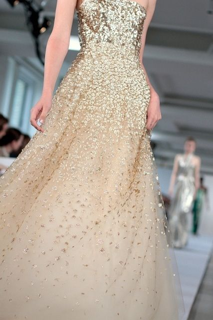 This dress make a gorgeous, contemporary, non-traditional wedding dress. Love the gold sequins and champagne fabric.