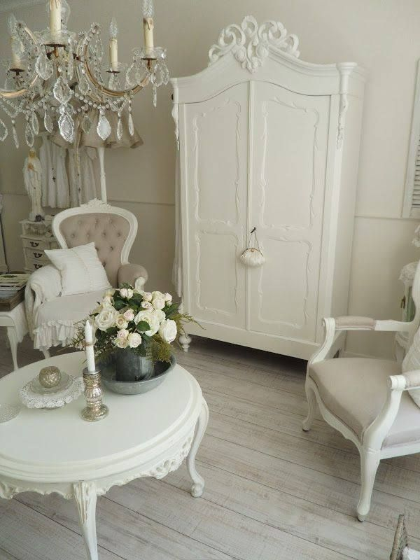 Shabby in love} absolutely gorgeous French armoire painted white. The chairs & that coffee table! I'll take one of everything please!