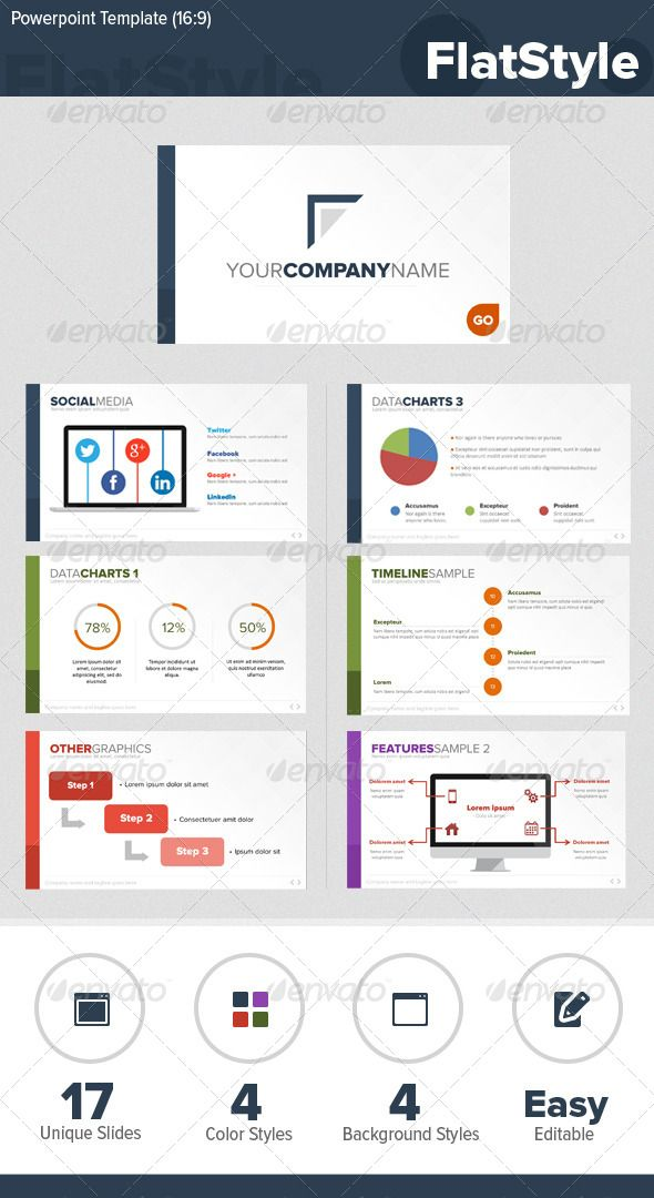5 Flat Design Powerpoint and Keynote Templates