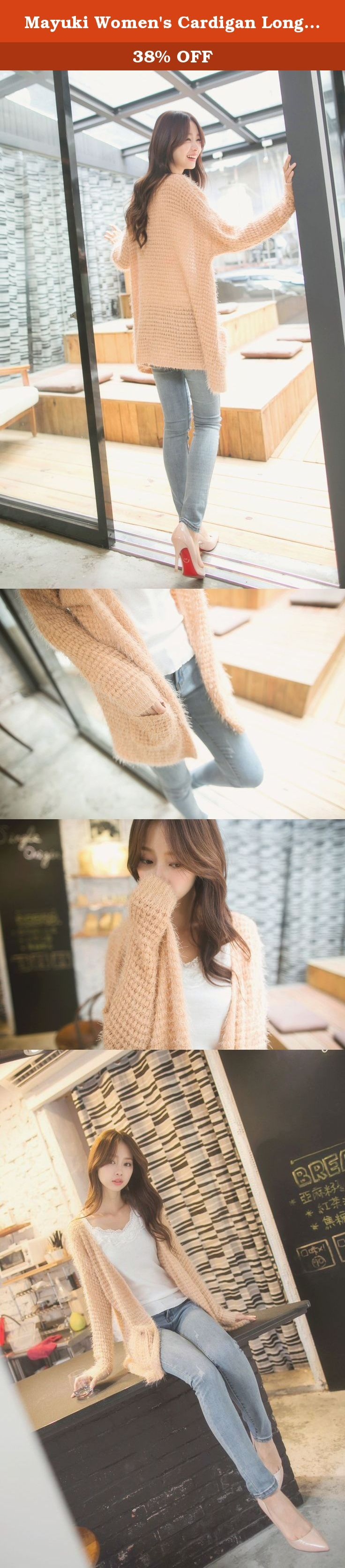 "Mayuki Women's Cardigan Long Cut Sweater with Pockets One Size Pink. One Size / US 00-10 fits (Waist: 24""-30"") (Hip: 33""-40""). Material: 100% Polypropylene, Stretchable: Yes, Thickness: Medium. Dry clean or hand wash only. Imported. The models in the pictures are between 5.1 ft - 5.4 ft in height. Bags and other accessories are not included unless otherwise noted."