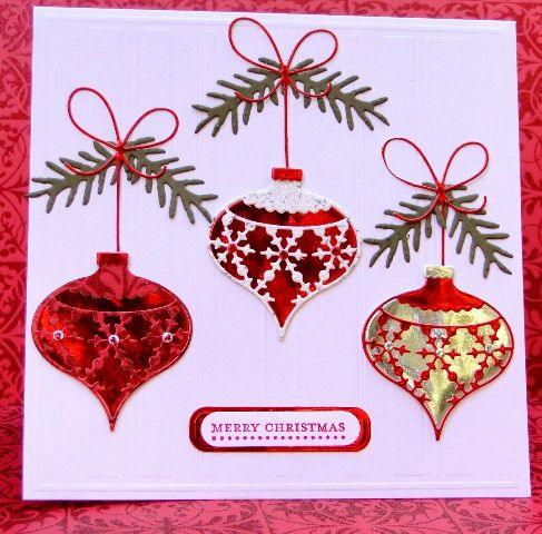 A trio of Memory Box Ornaments by jasonw1 - Cards and Paper Crafts at Splitcoaststampers