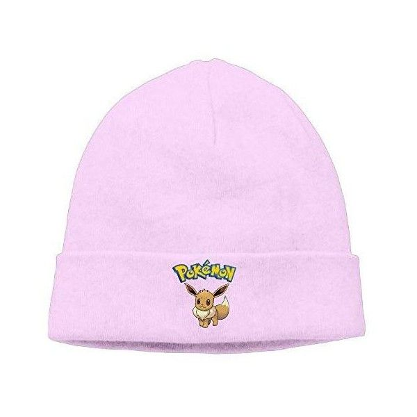 Unisex Pokemon Eevee 85% Cotton Slouchy Beanie Pink ($13) ❤ liked on Polyvore featuring accessories, hats, cotton beanie hat, beanie cap hat, pink beanie, slouch beanie hats and slouchy hat