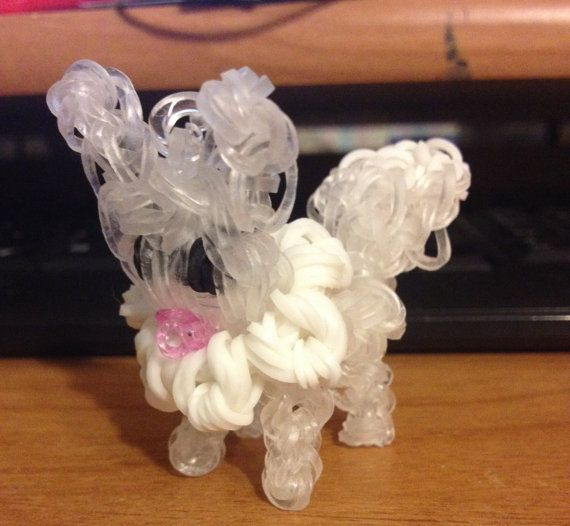 Rainbow Loom Pokemon Charm made from crystal, White Black and pink rubber bands