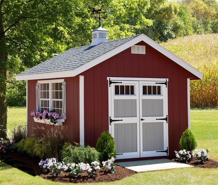 Amish Made Homestead Shed Kit Set up the Homestead Shed Kit for attractive storage outside. Comes complete with a double window and optional flower boxes.