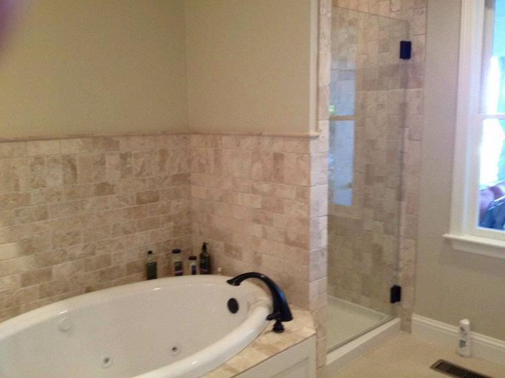 """Custom Bathroom With Jacuzzi Bathtub, Stall Shower, And Custom Tile"" At DeStefano Remodeling in North Texas we desire to be your full service contractor on your next project. Visit our website www.destefano.co/ to see some of our completed custom projects and our Pinterest page pinterest.com/... where we have a library of pictures to help you get inspired for your next residential or commercial project."