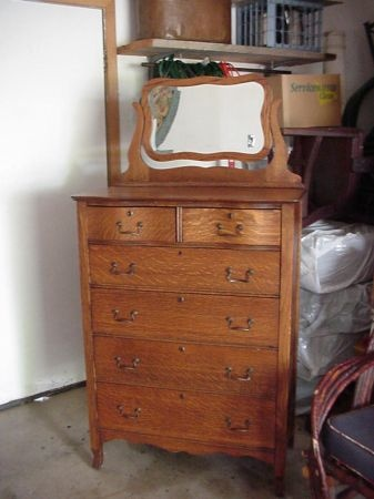 Vintage Oak Highboy Dresser With Mirror Vintage