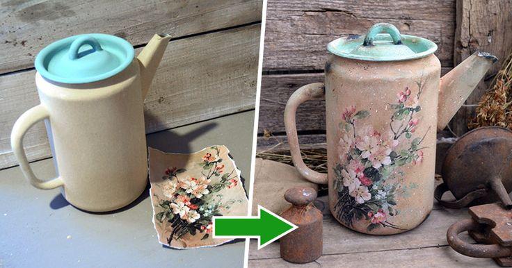 Меня зовут Любовь. Я просто обожаю старые чайники и кофейники. Я их люблю собирать и декорировать. Сегодня хочу вам показать, как из неприглядного чайника сделать украшение декора в стиле «Кантри». Давайте сразу приступим :) Вот такой чайник у нас получится в самом конце :) Итак, для этого мастер-класса нам понадобится: 1. Сам чайник (это может быть кофейник, бидон, что вы найдёте). 2.