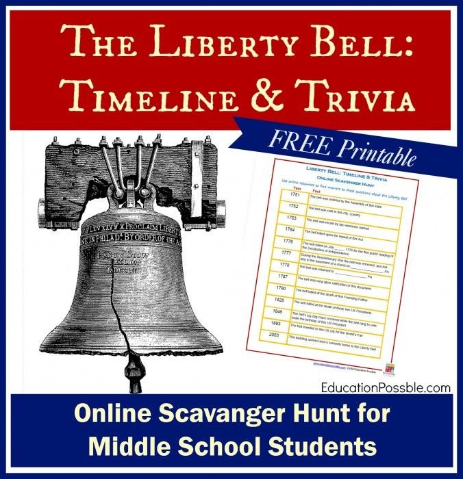 The Liberty Bell: Timeline & Trivia Scavenger Hunt for Middle School Students @Education Possible