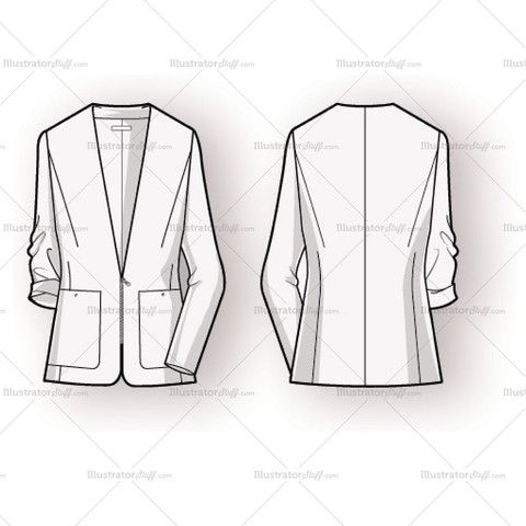 Women's Blazer Fashion Flat Template