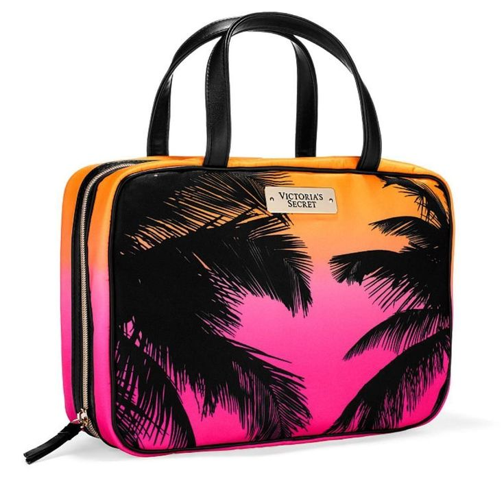 """Victoria's Secret Hanging Travel Tote Bag Weekender Cosmetic Carrier Palm Tree. Victoria Secret Hanging Travel Tote Bag Weekender Cosmetic Carrier Palm Tree Trees Hawaii Caribbean Cruise 2016. Closed: 10 1/2""""L x 3""""W x 6 1/2""""H Small zip pocket with hanger. 