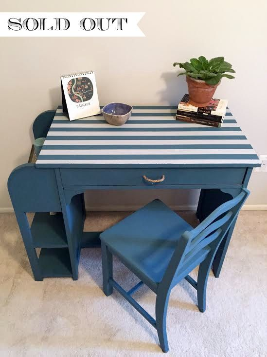Adorable, whimsical nautical style childs desk and chair. This piece is painted in Annie Sloan Aubusson Blue with Annie Sloan Paris Grey