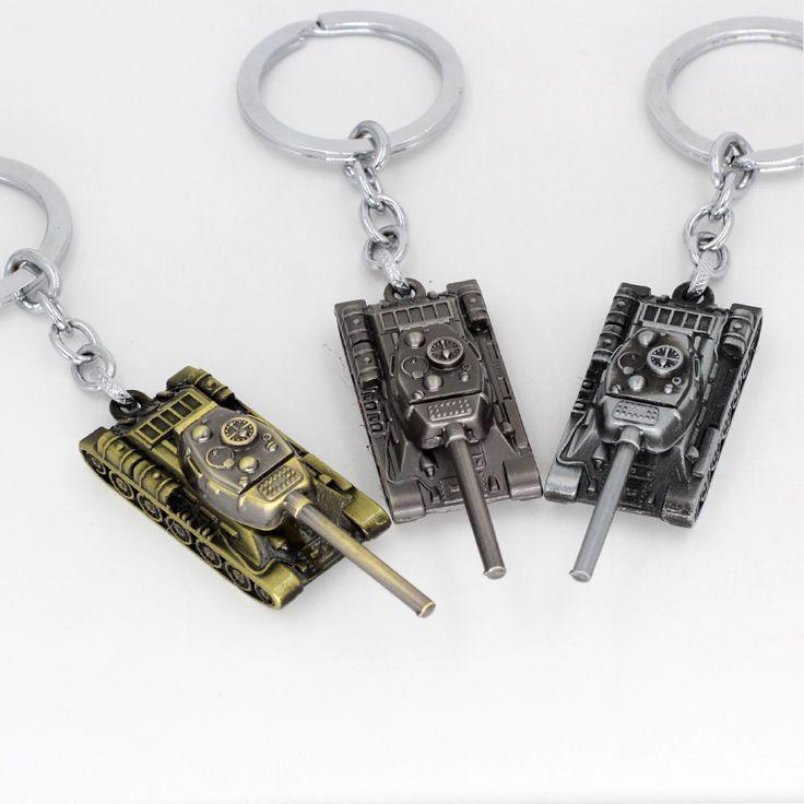 2017 Nieuwe Drie kleur tanks sleutelhanger metalen herdenkingsmunt geschenken Retro mode-sieraden Game Wereld tanks auto sleutelhanger