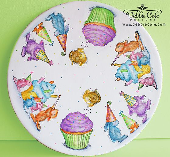 #cre8time for birthdays - this darling party plate painted by Debbie Cole, CDA for the #Stampendous #DecoArt Blog Hop!