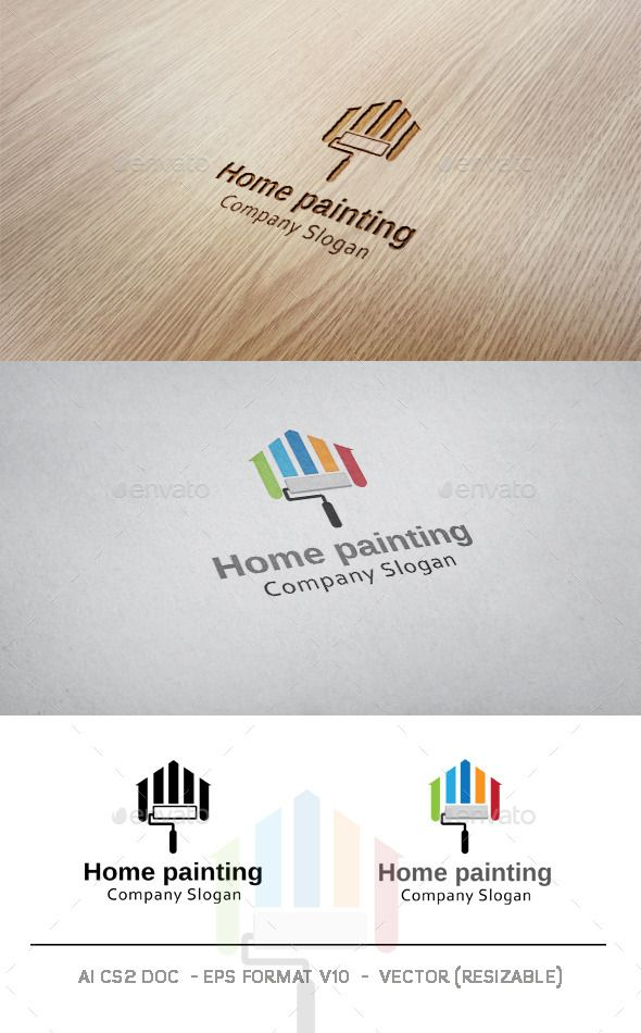 Home Painting  Logo Design Template Vector #logotype Download it here:  http://graphicriver.net/item/home-painting-logo/9633565?s_rank=557?ref=nexion