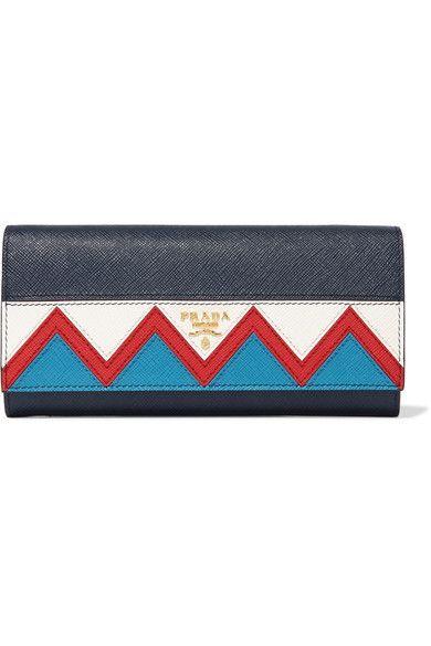 Prada - Zig Zag Textured-leather Continental Wallet - Navy - one size