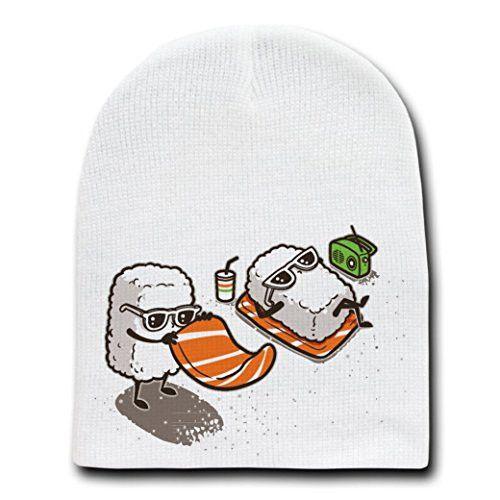 'Summer Sushi' Funny Cartoon Sushi Sunbathing on Beach - White Beanie Skull Cap Hat