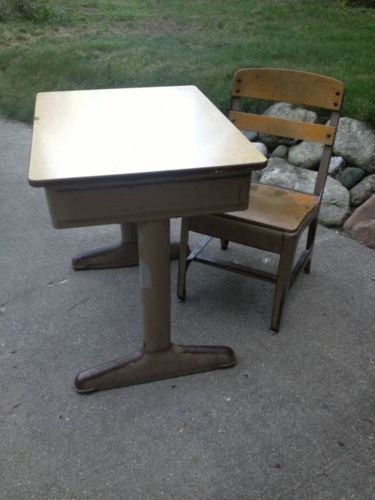 Antique School Student Desk Chair W Cubby American Seating