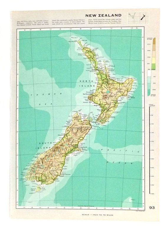 Vintage New Zealand  Map of New Zealand  by PeonyandThistlePaper, £8.00