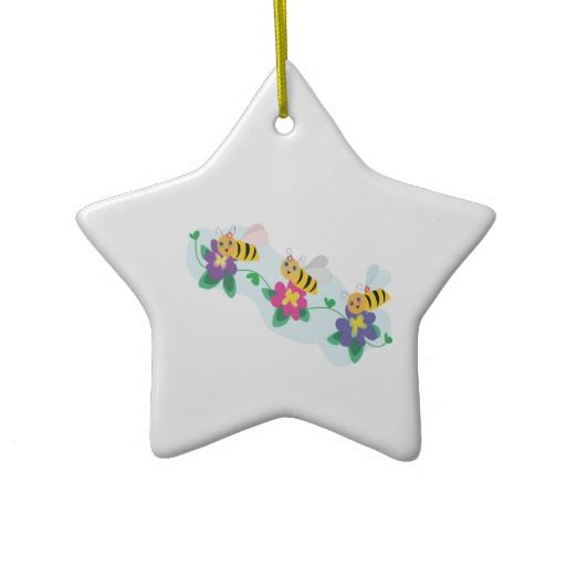 Three Cute Happy Bumble Bees On Flowers Ornaments
