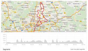 Hieronder het race course van de Ironman Frankfurt 2014. Aantal hoogtemeters: 1222