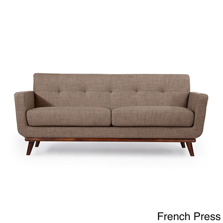 Kardiel Jackie Mid-century Modern Vintage Tailored Twill Loveseat (French Press), Brown (Wool)