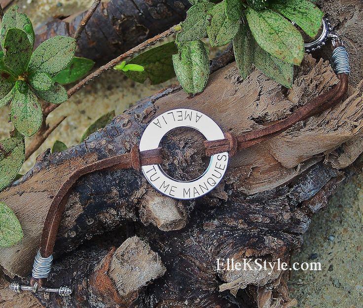 Leather Cord Washer Bracelet