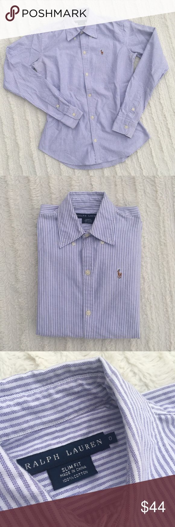 Ralph Lauren Slim Fit Button down size 0 Like New! Thank you in advance for your purchase, Happy Poshing! Ralph Lauren Tops Button Down Shirts