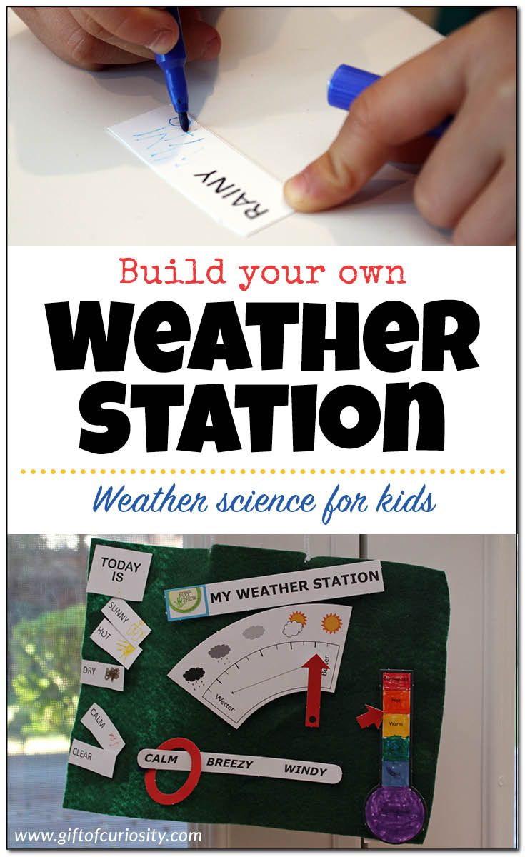 This DIY weather station is a perfect weather science activity for teaching kids about the various weather conditions such as temperature, sky conditions, wind conditions, precipitation, and more. What a great activity to launch a weather unit with preschoolers, kindergarteners, or early elementary students. || Gift of Curiosity