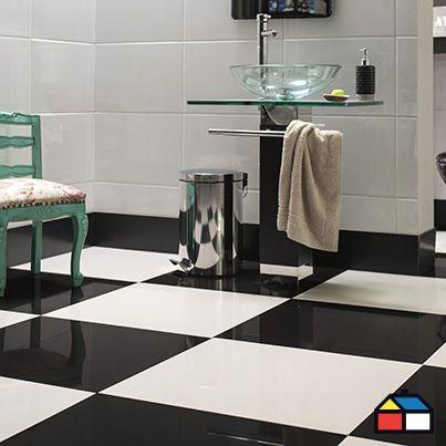 8 best piso porcelanato negro images on pinterest for Azulejo de piso de bano blanco y negro