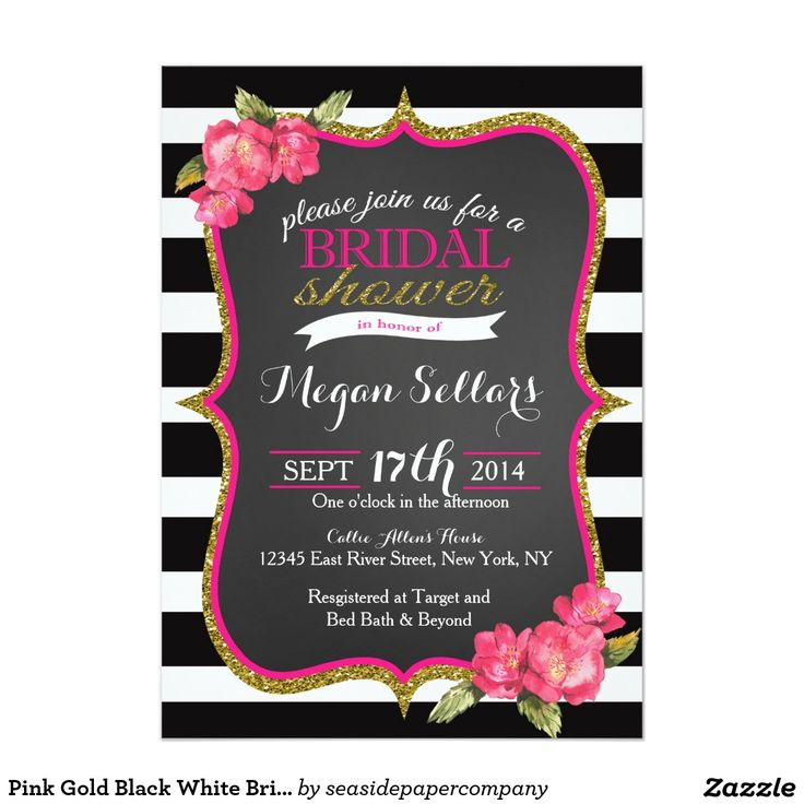 zazzle wedding invitations promo code%0A Pink Gold Black White Bridal Shower Invitation