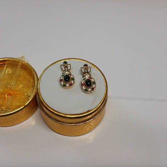 Ohrringe Gold 585 Rubin Smaragd Onyx Kristallsteine Vintage