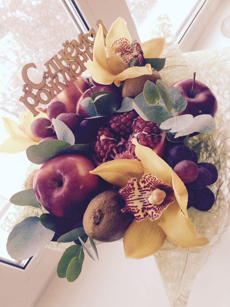 Fruits bouquet букет из фруктов фрукты и цветы гранат яблоки орхидеи виноград эвкалипт