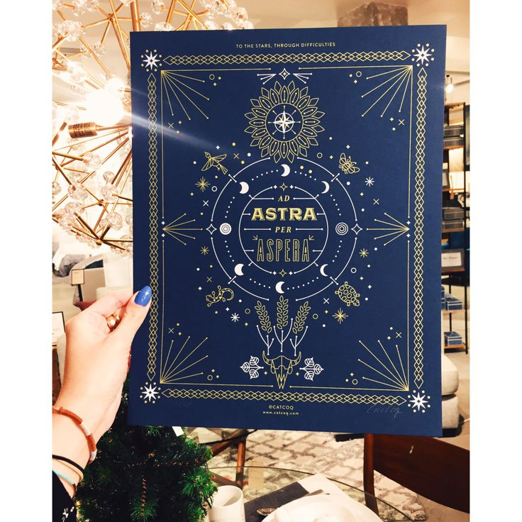 PRODUCTS :: LIVING AND DESIGN :: Accessories and Decorations :: Prints :: Ad Astra Per Aspera – Limited-Edition Screenprint Signed by CatCoq. Kansas State Motto in Latin. Gold Metallic Ink Silkscreen Art Print.