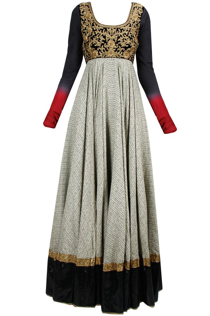 Black and beige shlok print jaal embroidered jalabiya anarkali available only at Pernia's Pop-Up Shop.