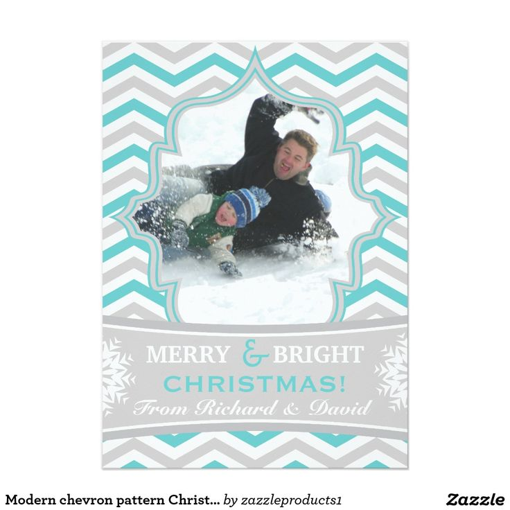 Modern chevron pattern Christmas flat photo card