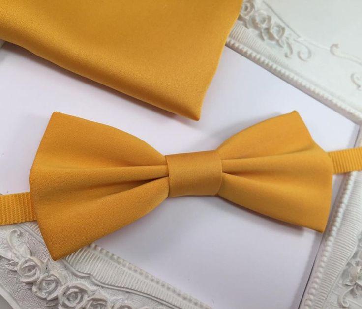 SET Noeud Papillon élégant et Pochette Costume Assortie jaune blé Homme : Cravates par fleurs-de-provence