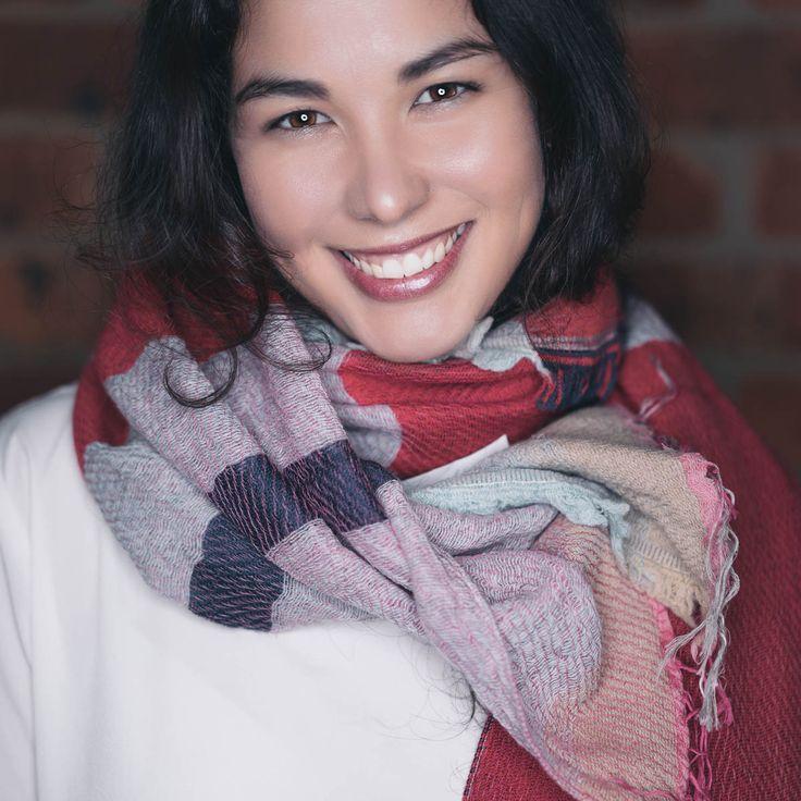 Angela wearing Japanese woollen shawl
