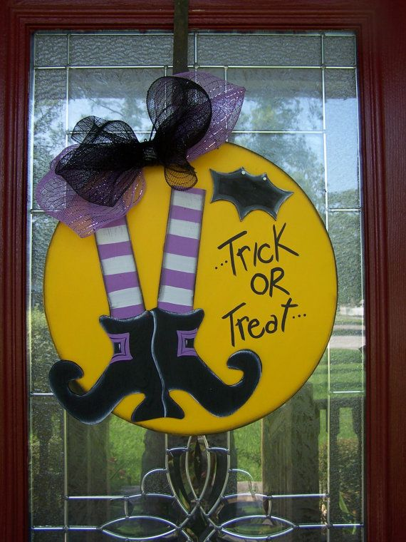 Halloween Trick or Treat Bat 3D Witch Shoes Door by samthecrafter, $35.00