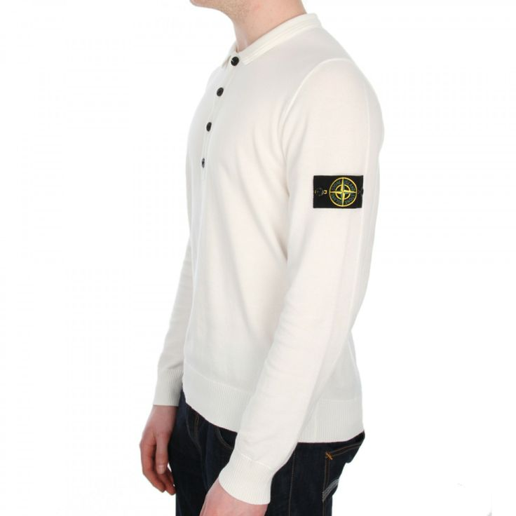 Stone Island Knitted Polo Shirt In White Buy Now At Aphrodite Menswear Online UK