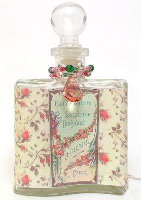 Pretty Perfume Bottle Nightlight Vintage Rose Labels Night Lights