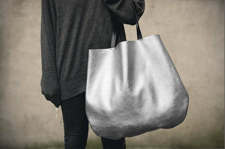 Silver Oversized Leather Hobo Bag, Tote bag in silver every day bag. $150.00, via Etsy.