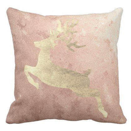 Reindeer Champaign Pink Rose Gold Blush Cottage Throw Pillow - blush pink gifts unique special diy custom