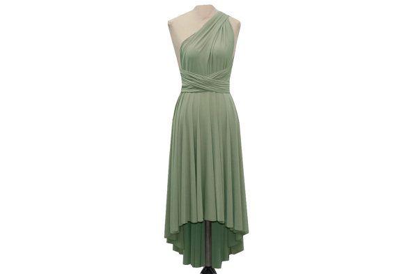 Cabrio Wrap Brautjungfer Kleid Salbei grün hoch von TwistWrap
