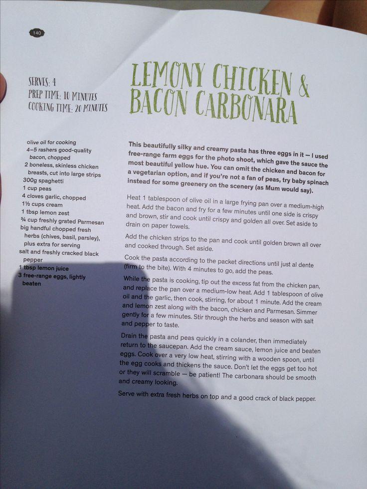 Lemon Chicken and Bacon Cabonara