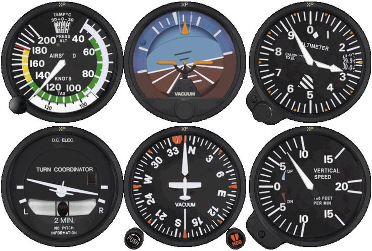 Flightline T: typical Cessna T Stack - Basic 6 instrument in Cessna