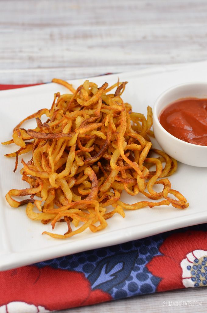 Look at these delicious Syn Free Curly fries. Spiralizers have many uses, great for making all those speed vegetables interesting and of course curly fries