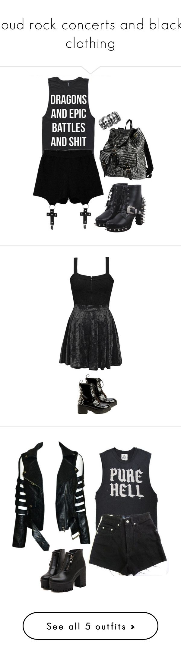 """""""loud rock concerts and black clothing"""" by patpotato ❤ liked on Polyvore featuring Chicnova Fashion, 2 Di Picche Recycled, ASOS, Element, Boohoo, Jeffrey Campbell, Dr. Martens, High Heels Suicide, VIPARO and Charlotte Russe"""