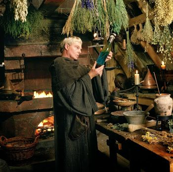 The delightful Brother Cadfael at work in his glorious 'Herbarium'...